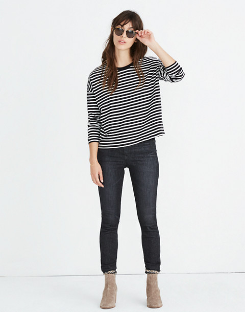 Triblend Ex-Boyfriend Long-Sleeve Tee in Baden Stripe in true black image 1