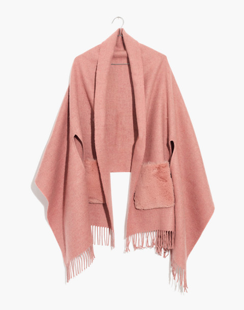 Faux-Fur Pocket Cape Scarf in pink oyster image 1