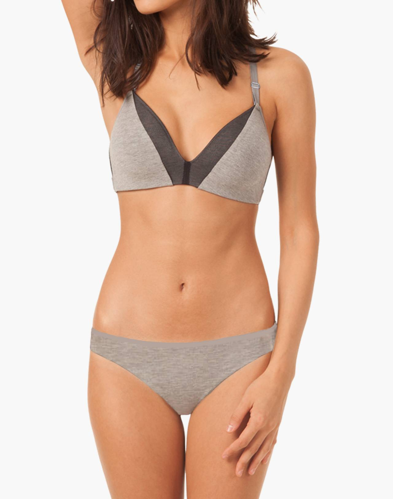LIVELY™ All-Day Deep-V No-Wire Bra in gray image 1