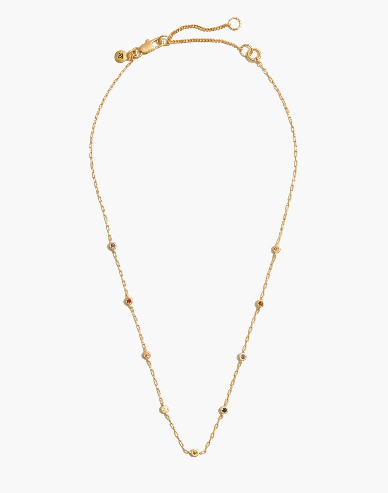 Rainbow Sparkle Necklace in vintage gold image 2