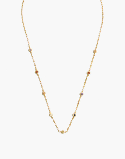 Rainbow Sparkle Necklace in vintage gold image 1