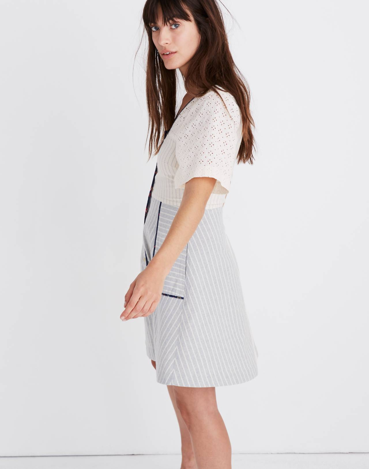 Madewell x The New Denim Project® Patchwork Square-Neck Dress in blue skinny stripe image 2