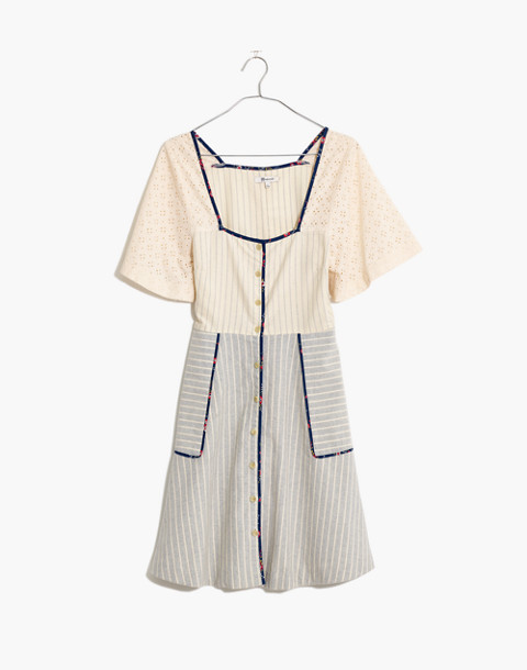Madewell x The New Denim Project® Patchwork Square-Neck Dress in blue skinny stripe image 4