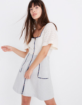Madewell X The New Denim Project® Patchwork Square Neck Dress by Madewell