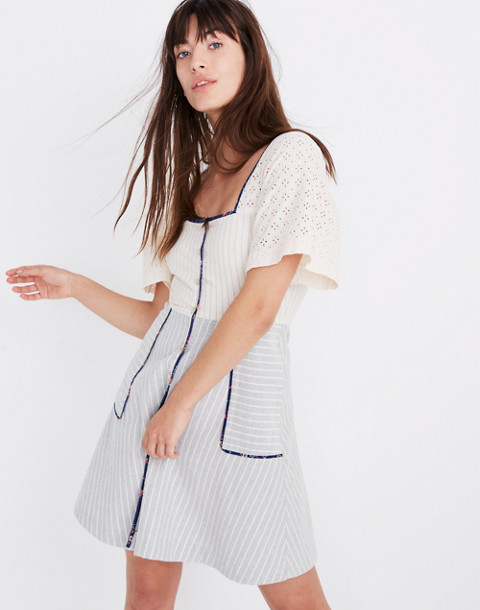 Madewell x The New Denim Project® Patchwork Square-Neck Dress in blue skinny stripe image 1