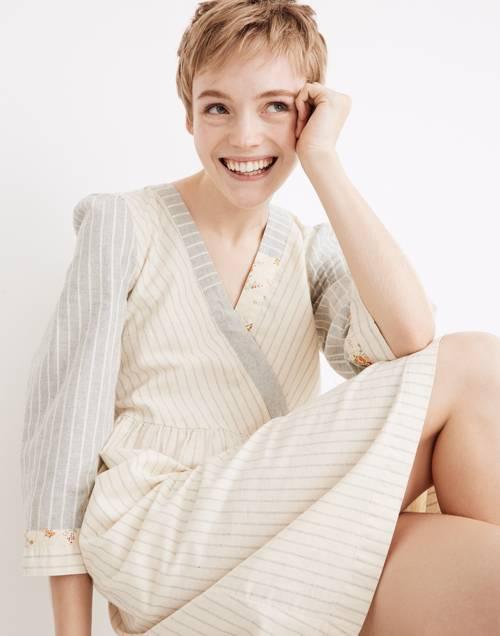 Madewell x The New Denim Project® Stripe-Mix Dress in white skinny stripe image 1