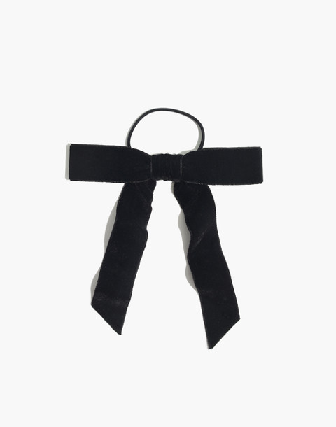 Velvet Bow Hair Tie in true black image 1 ef3b07920b8