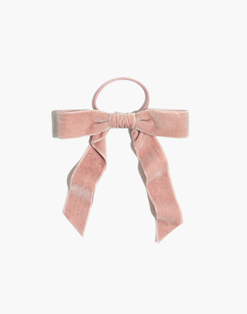 Velvet Bow Hair Tie in peach blush image 1 c9fc90ec934