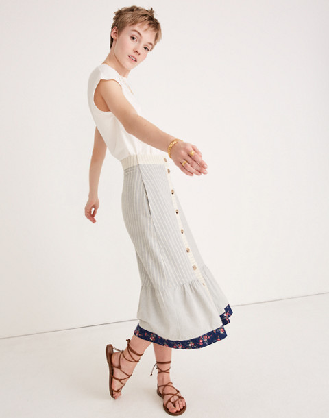 Madewell x The New Denim Project Patchwork Skirt in white skinny stripe image 2