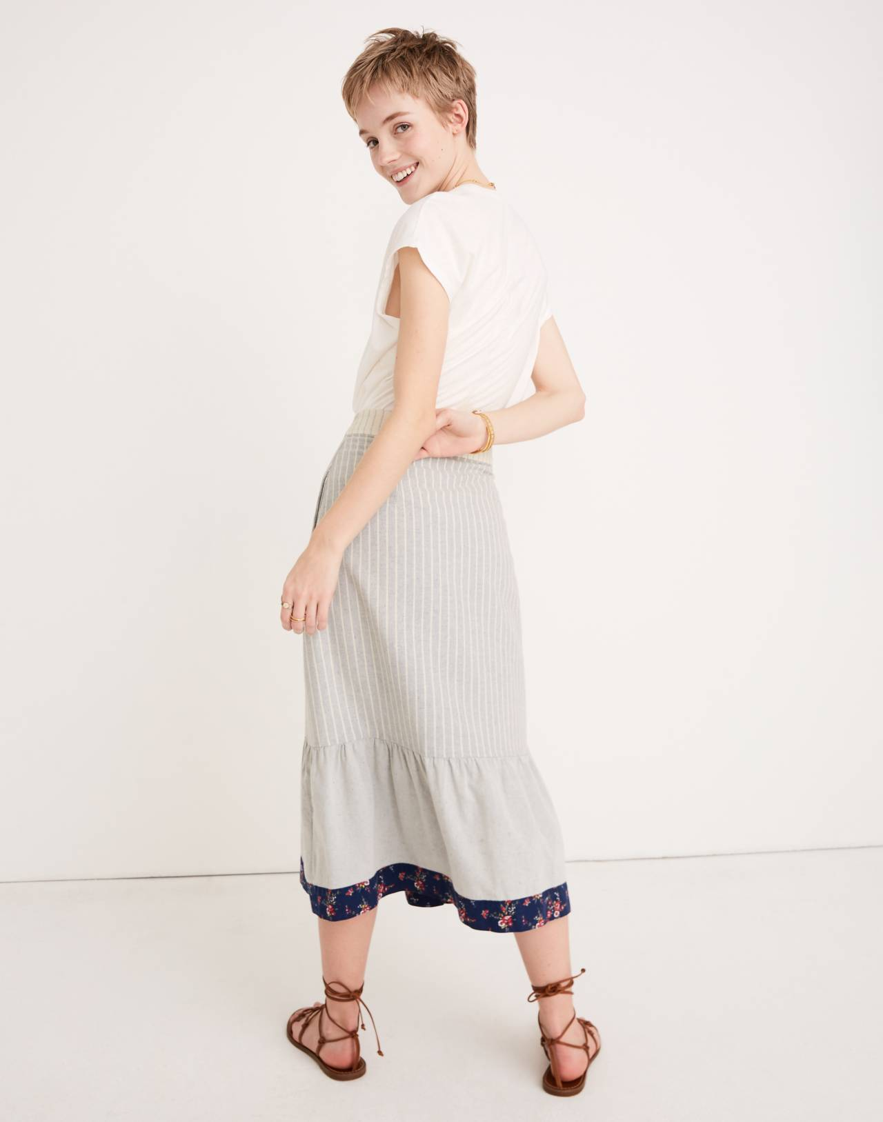 Madewell x The New Denim Project Patchwork Skirt in white skinny stripe image 3