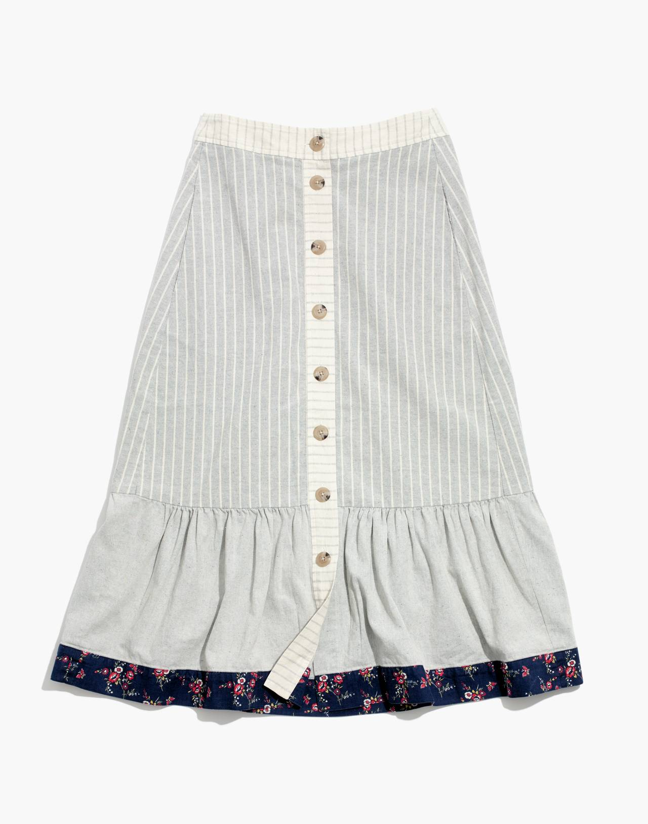 Madewell x The New Denim Project Patchwork Skirt in white skinny stripe image 4