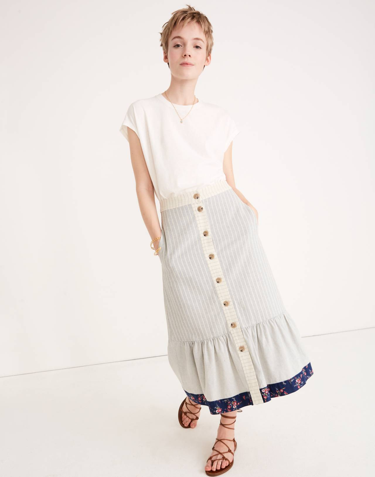 Madewell x The New Denim Project Patchwork Skirt in white skinny stripe image 1