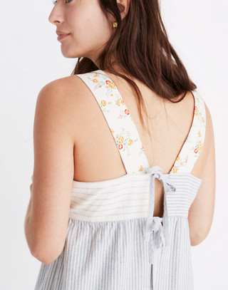 Madewell x The New Denim Project® Patchwork Jumpsuit in blue railroad stripe image 3