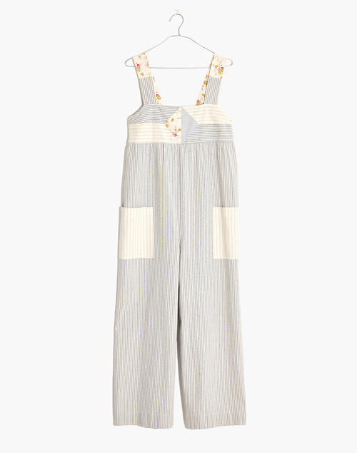 Madewell x The New Denim Project® Patchwork Jumpsuit in blue railroad stripe image 4