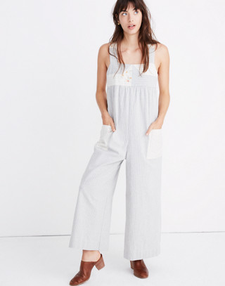 Madewell x The New Denim Project® Patchwork Jumpsuit in blue railroad stripe image 1
