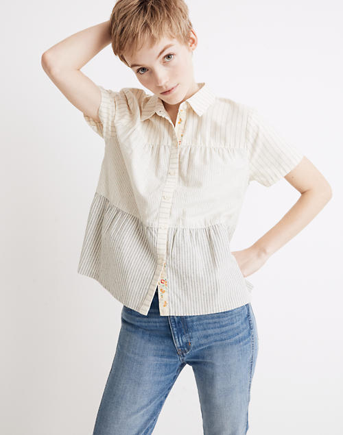 4baa3f7a4 Madewell x The New Denim Project® Stripe-Mix Seamed Button-Down Shirt in