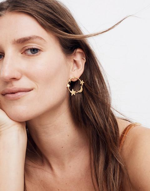 Star and Moon Hoop Earrings in vintage gold image 2