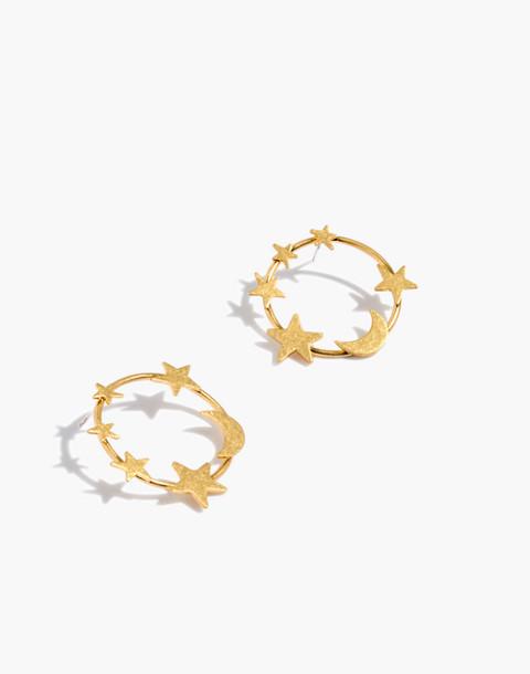Star and Moon Hoop Earrings in vintage gold image 1