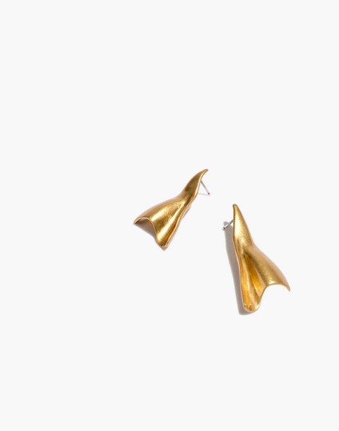 Folded Earrings in vintage gold image 1