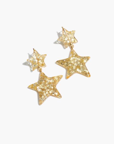 Glitter Star Statement Earrings in clear image 1