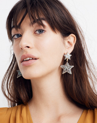 Glitter Star Statement Earrings in iridescent image 2