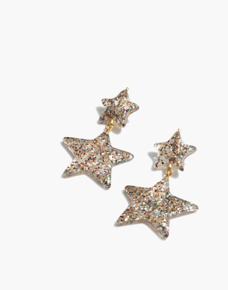 Glitter Star Statement Earrings in iridescent image 1