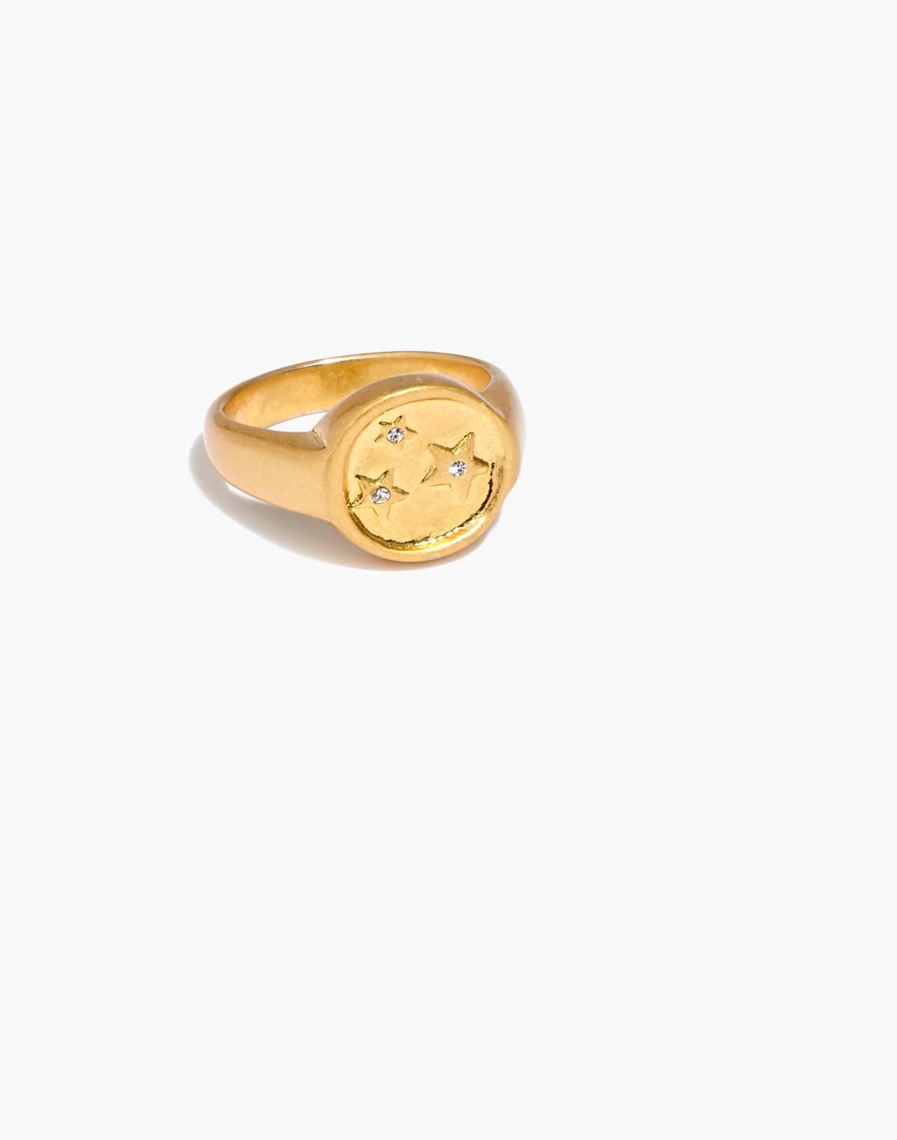 Star Sparkle Signet Ring in vintage gold image 1