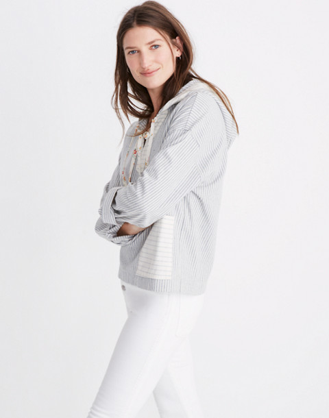 Madewell x The New Denim Project® Patchwork Popover Hoodie in blue railroad stripe image 2