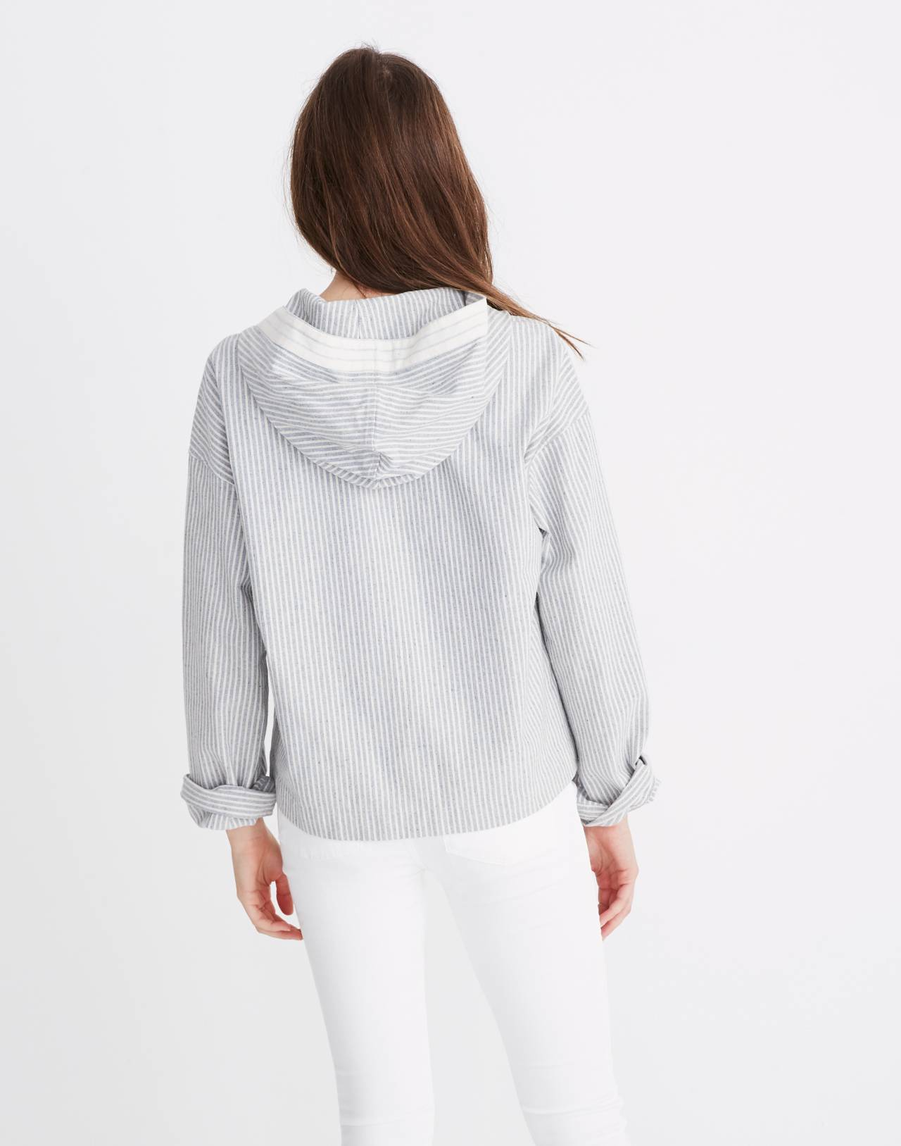 Madewell x The New Denim Project® Patchwork Popover Hoodie in blue railroad stripe image 3