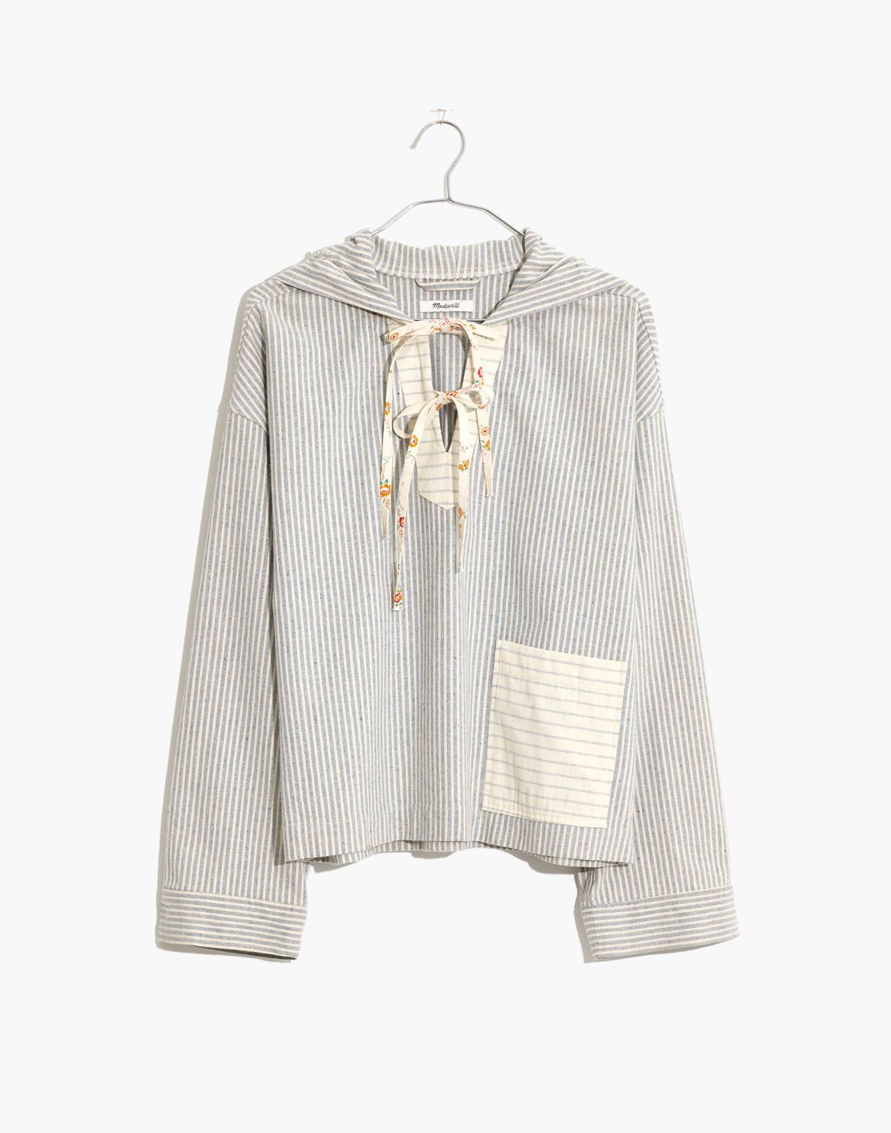 Madewell x The New Denim Project® Patchwork Popover Hoodie in blue railroad stripe image 4