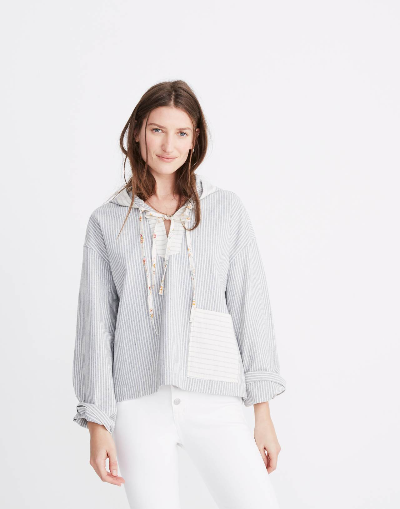 Madewell x The New Denim Project® Patchwork Popover Hoodie in blue railroad stripe image 1
