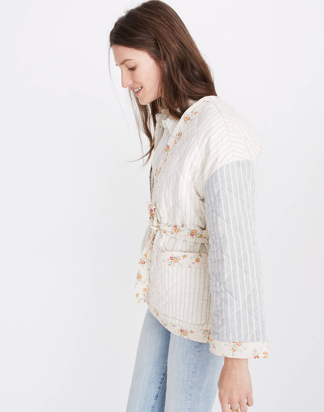 Madewell x The New Denim Project® Patchwork Wrap Jacket in white skinny stripe image 2