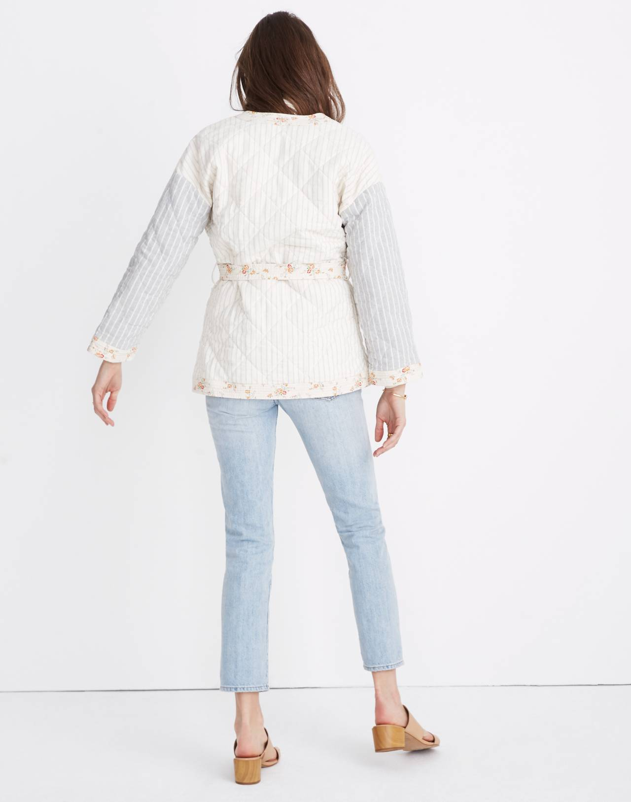 Madewell x The New Denim Project® Patchwork Wrap Jacket in white skinny stripe image 3