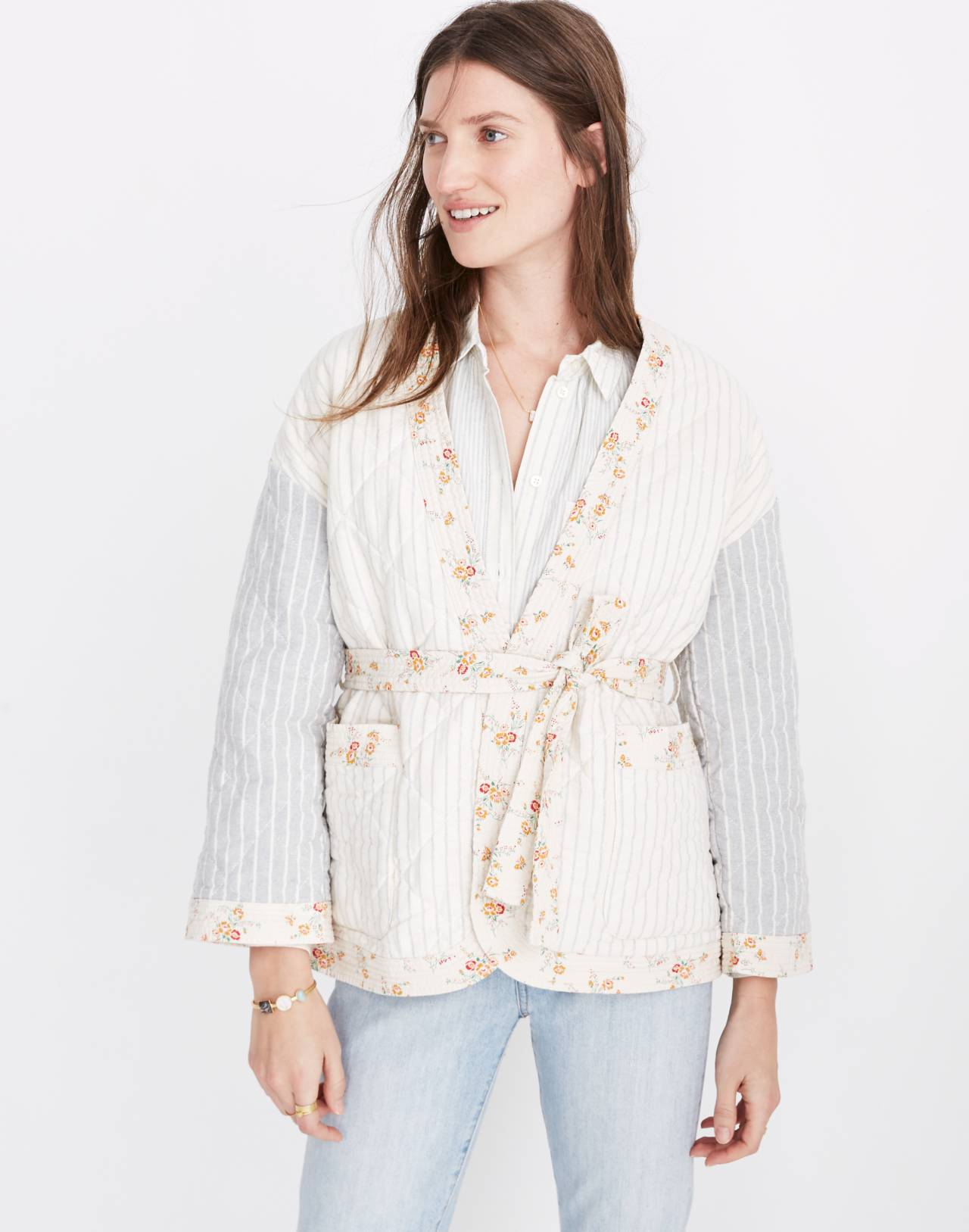 Madewell x The New Denim Project® Patchwork Wrap Jacket in white skinny stripe image 1