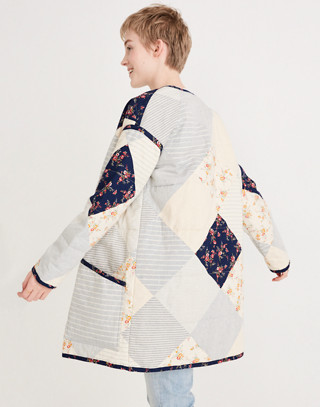 Madewell x The New Denim Project® Patchwork Cocoon Coat in white skinny stripe image 2