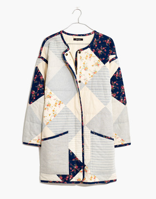 Madewell x The New Denim Project® Patchwork Cocoon Coat in white skinny stripe image 4