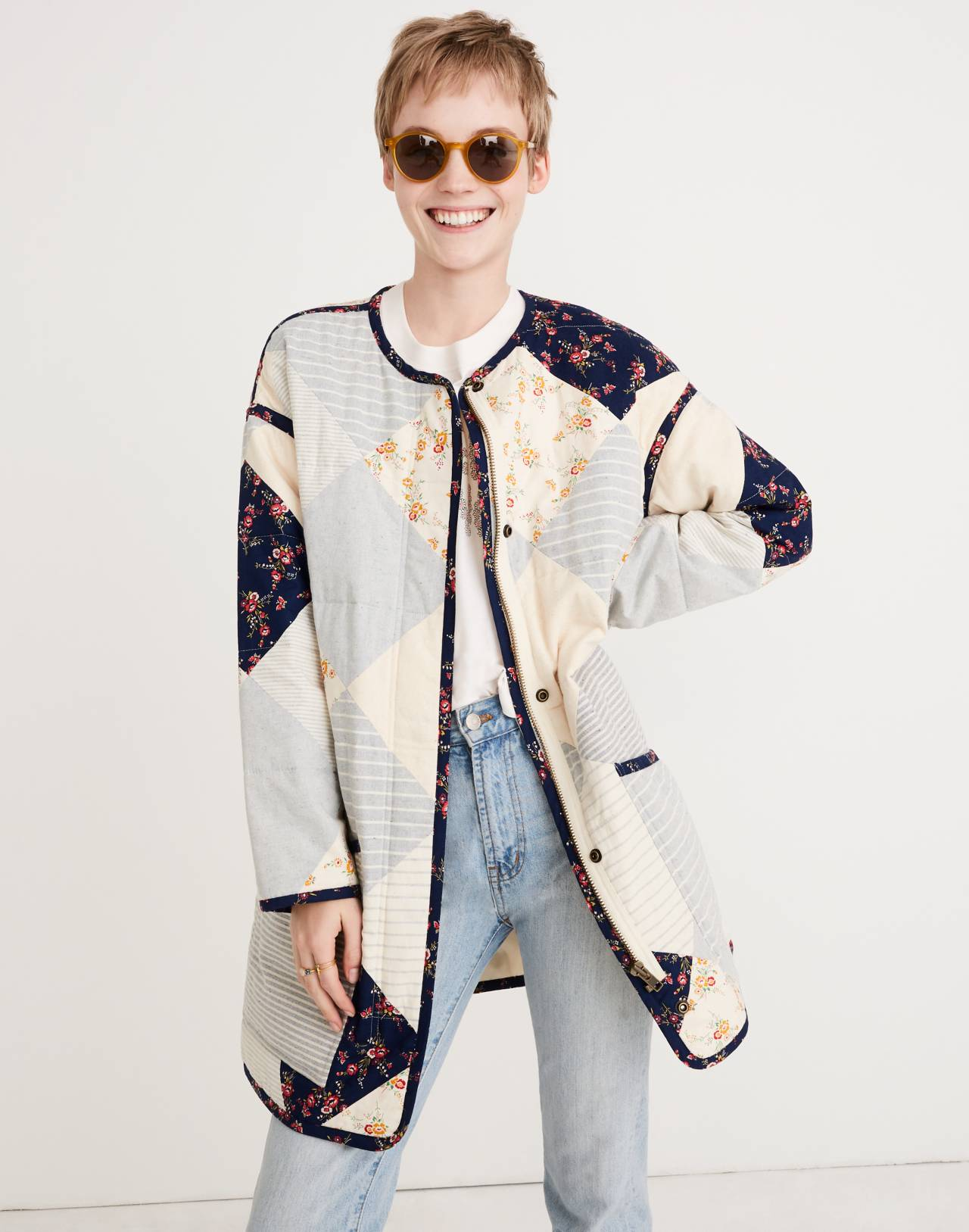 Madewell x The New Denim Project® Patchwork Cocoon Coat in white skinny stripe image 1