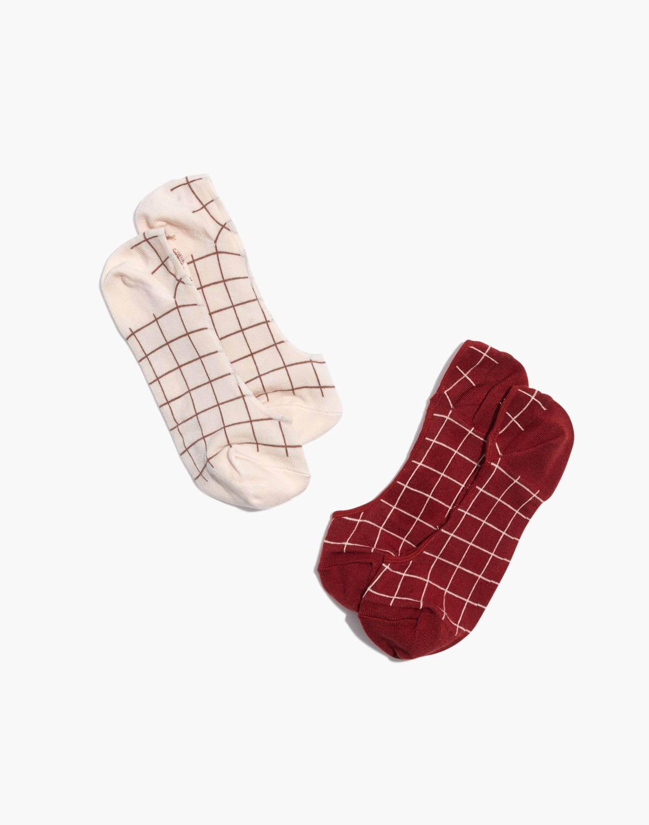 Two-Pack Grid Low-Profile Socks in pearl ivory image 1