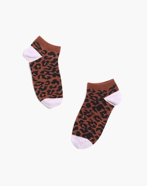 Cheetah Anklet Socks in burnt sienna multi image 1