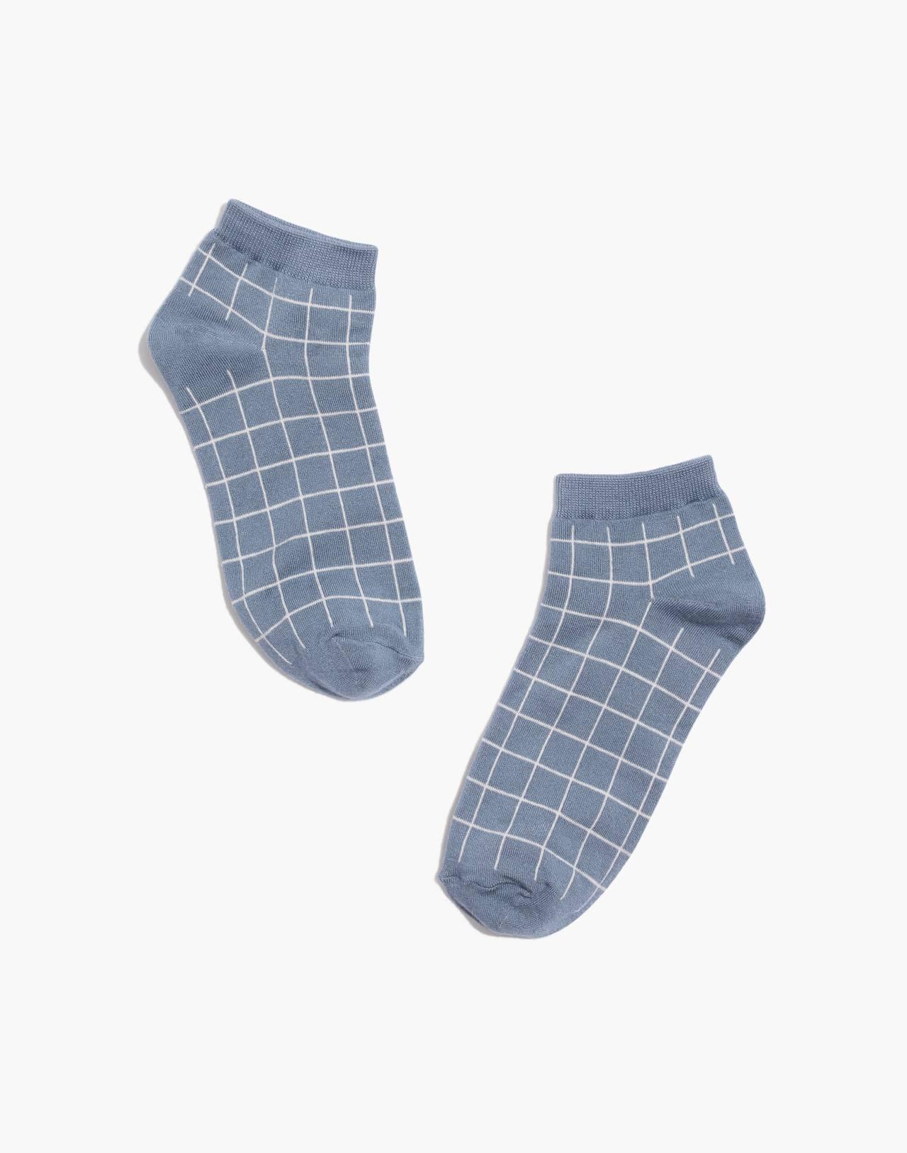 Grid Anklet Socks in rainrop blue image 1