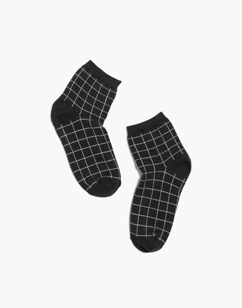 Grid Ankle Socks in charcoal grey image 1