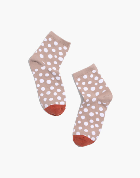 Leopard Dot Ankle Socks in ashen silver multi image 1