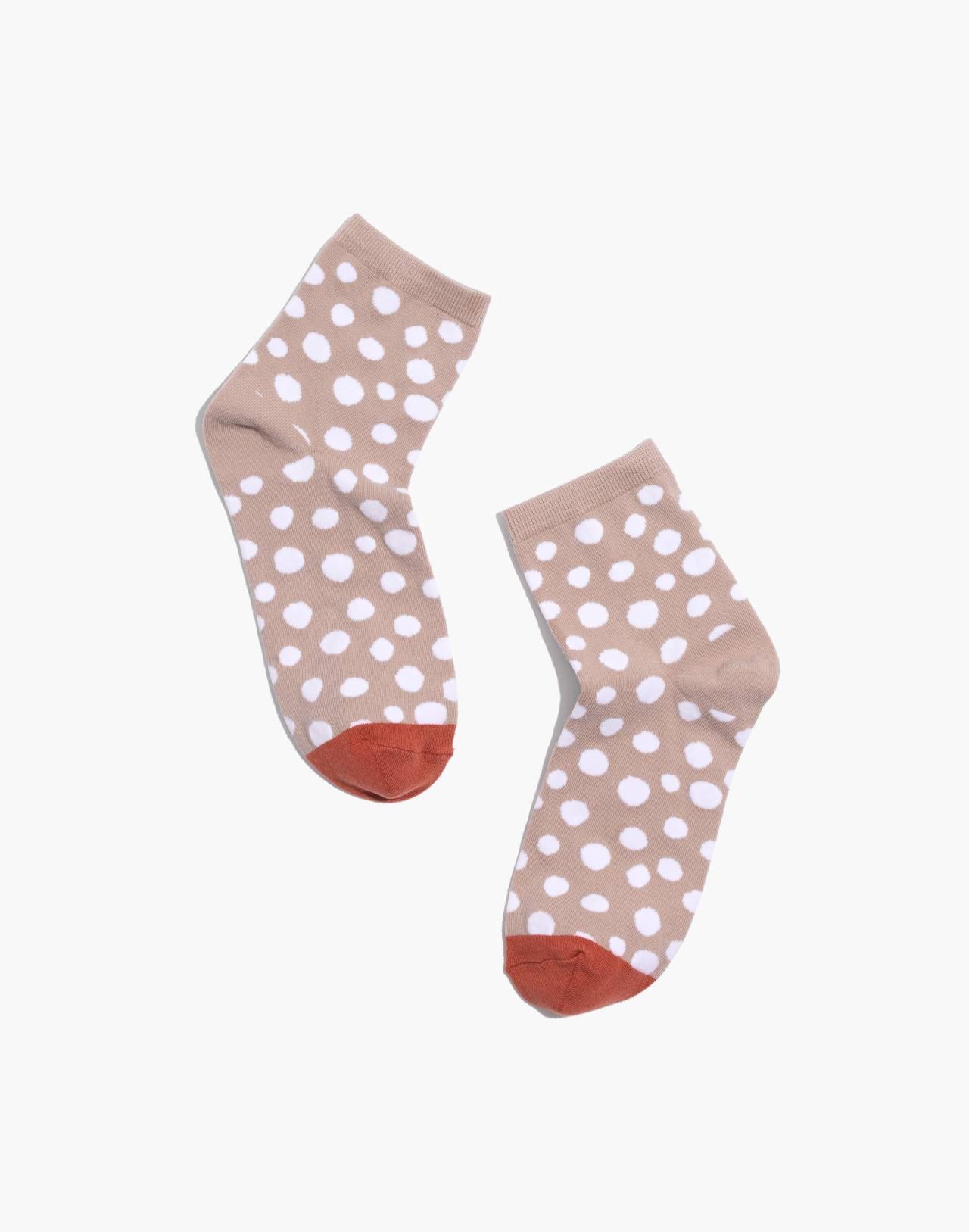 Leopard Dot Ankle Socks in ashen silver multi image 1