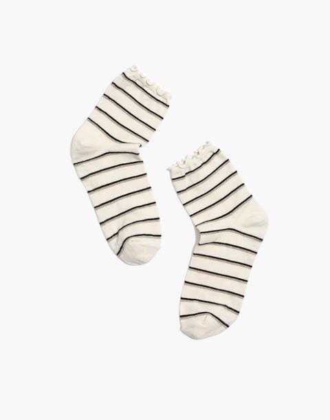 Metallic Stripe Ruffle-Edge Ankle Socks in pearl ivory multi image 1