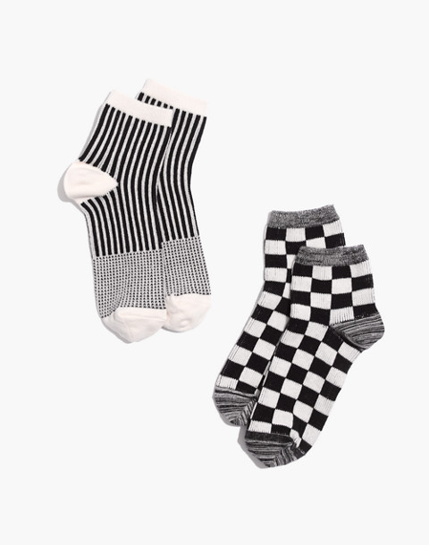Two-Pack Checkerboard and Stripe Ankle Socks in true black multi image 1