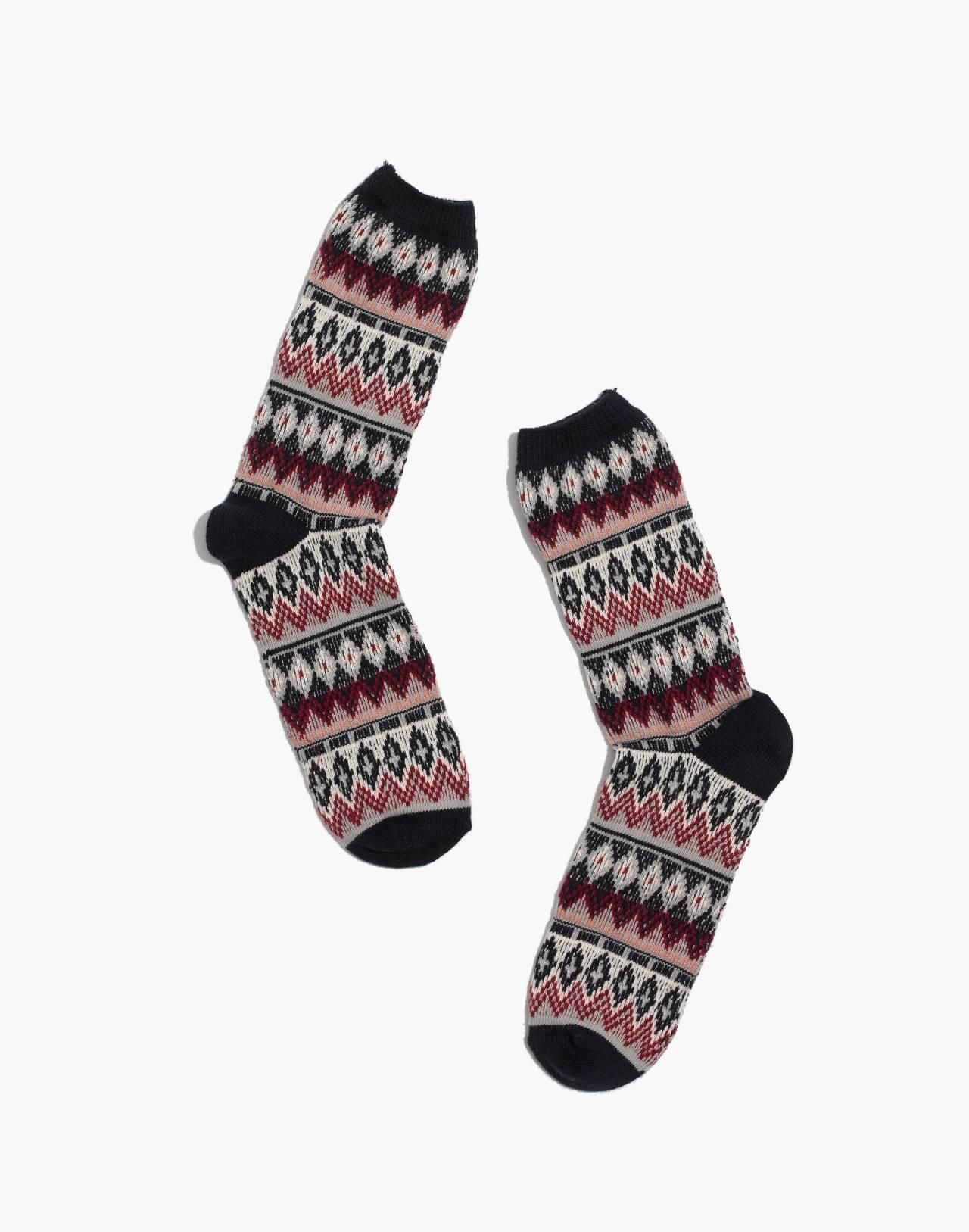 Fair Isle Trouser Socks in deep navy multi image 1
