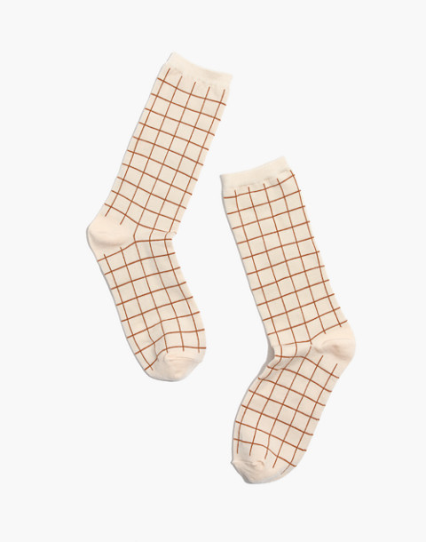 Grid Trouser Socks in cantebury red multi image 1