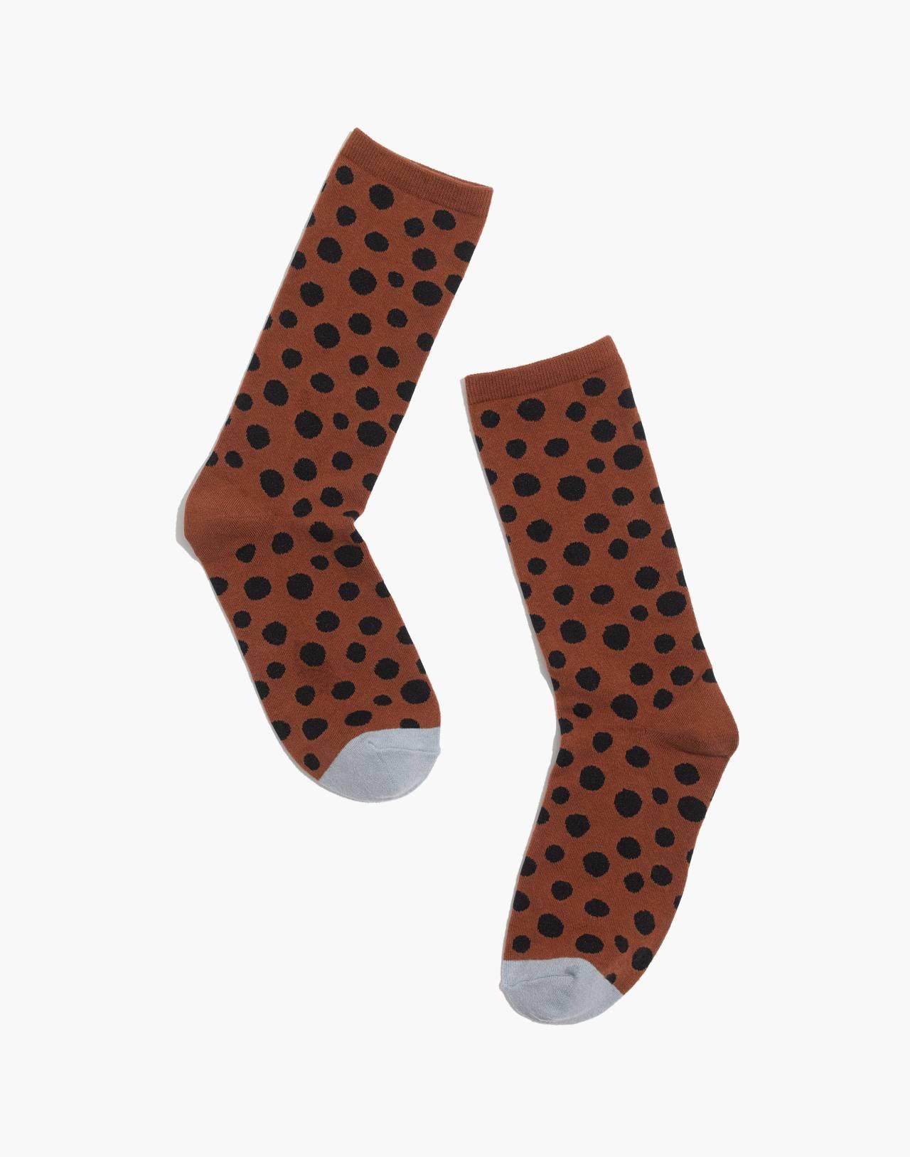 Leopard Dot Trouser Socks in burnt sienna multi image 1