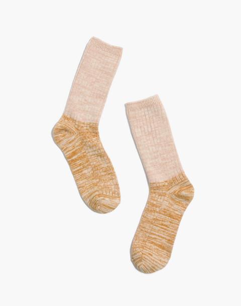 Colorblock Ribbed Trouser Socks in cream/gold image 1