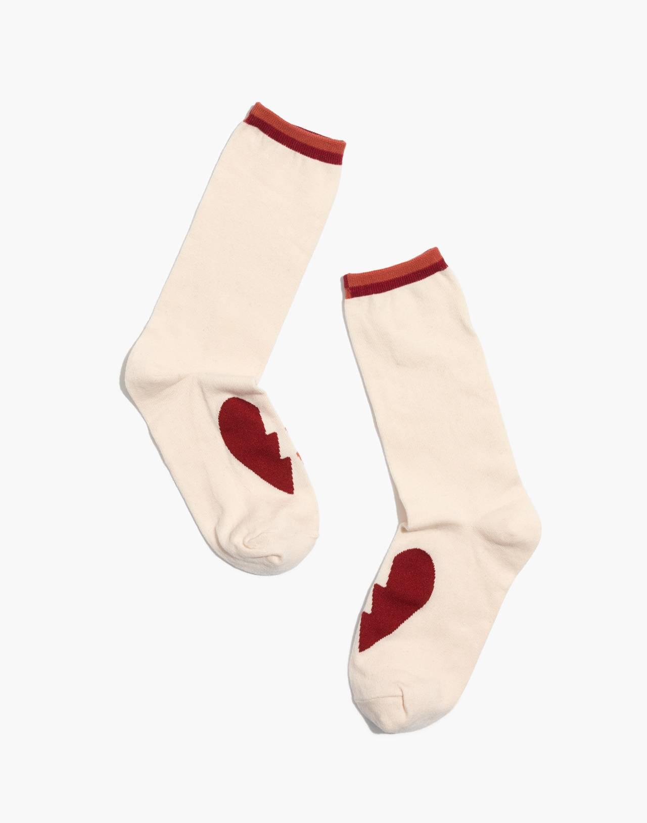 Heartbreak Trouser Socks in pearl ivory multi image 1